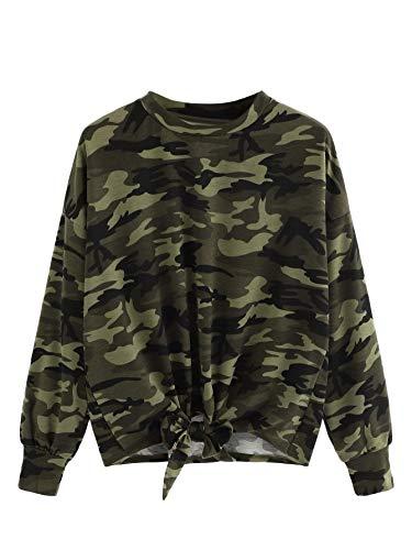 SweatyRocks Women's Casual Pullover Crewneck Long Sleeve Knot Front Sweatshirt Crop Top T-Shirts
