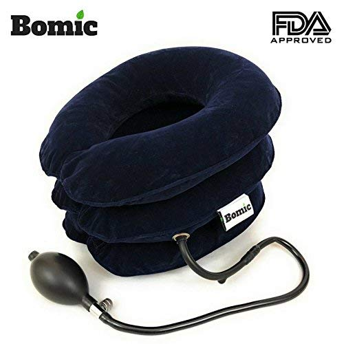 Bomic Cervical Neck Traction Device Inflatable Pillow Instant Relief - FDA Approved - Ergonomic Design - Relief for Chronic Neck & Shoulder Pain - Spine Alignment - Adjustable Neck Collar - Blue