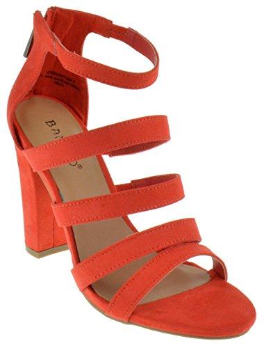 Bamboo Lemonlight 02 M Womens Strappy Chunky Heeled Gladiator Sandals Orange Suede 7.5