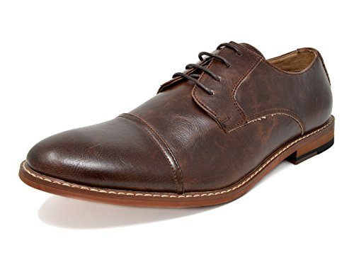Bruno Marc Men's Marlon-1 Dark Brown Pu Leather Lined Dress Oxfords Shoes – 7.5 M US