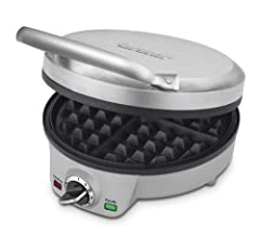 The Cuisinart 4-Slice Belgian Waffle Maker always cooks golden waffles that are crispy on the outside and mouthwateringly tender on the inside. With a stylish brushed stainless steel cover, the waffle iron offers an adjustable temperature control wit...