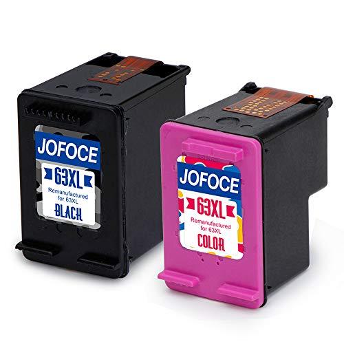 Jofoce Remanufactured for HP 63 63XL Ink Cartridges 1 Black + 1 Tri-Color, High Yield Work with HP Envy 4520 4516 4512 4522 Officejet 4650 3830 3831 3832 Deskjet 1112 2130 3634 3633 3630 3636 Printer ()