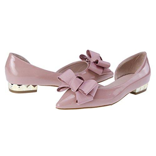 Damara Elegante Zapatos Planos de Goma Zapatillas con Lazo Para Mujer Rosado