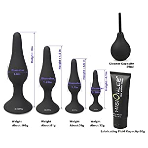 Hisionlee Sexy Toys 4PCS Anal Plug Set Medical Silicone Sensuality Anal Toys(Black)