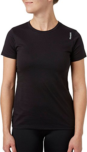 (Reebok Women's Crewneck Jersey T-Shirt (Caviar, X-Small))