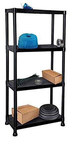Unidad de almacenamiento de estanter/ías de estanter/ías de servicio pesado de pl/ástico negro 4Tier