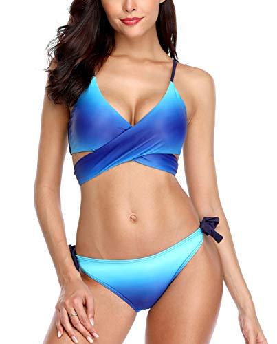 (ALove Women Wrap Bikini Swimsuit Tie Back 2 Piece Gradient Bathing Suit Blue M)