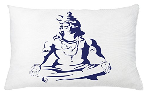 Ambesonne Ethnic Throw Pillow Cushion Cover, Abstract Display of Ethnic Religious Figure in Lotus Position Meditation Peace, Decorative Accent Pillow Case, 26 W X 16 L inches, Dark Blue White by Ambesonne