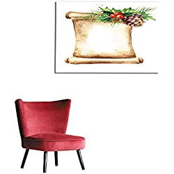 "homehot Wall Picture Decoration Scroll of Old Paper with Christmas Composition New Year Card Template Watercolor Hand Drawn Illustration Isolated on White Background Mural 48""x32"""