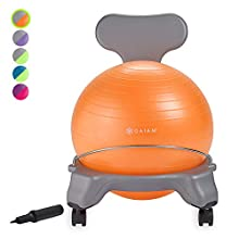 Gaiam Kids Balance Ball Chair - Classic Children's Stability Ball Chair, Alternative School Classroom Flexible Desk Seating for Active Students with Satisfaction Guarantee, Grey/Orange