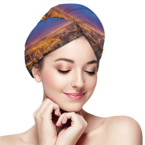 Towel wrap,dry hair towel for girls and children,dry hair cap,City,Cape Town Panorama at Dawn South Africa Coastline Roads Architecture Twilight,Marigold Blue Pink