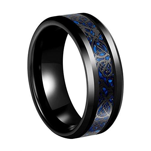 Sexbay 8mm Black Tungsten Carbide Ring Mens Blue Carbon Fiber Black Celtic Dragon Rings Jewelry Women's Men's Wedding Band Size 6-14
