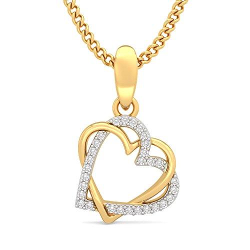 Or jaune 18K 0.09CT TW Round-cut-diamond (IJ | SI) Pendentif