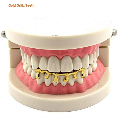 Female Rapper Costumes (Grillz Teeth Hoop for Kids Women Men Hip Hop Rapper Mouth Decoration (Gold))