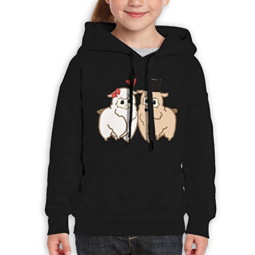 Teenagers Two Alpaca Love Teen Hoodies Black Pullover Hooded Youngsters Sweatshirt With Boys (Stanford Basketball Rugs)