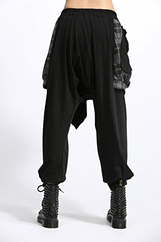 ELLAZHU Women Personality Elastic Waist Plaid Harem Pants Onesize GY700