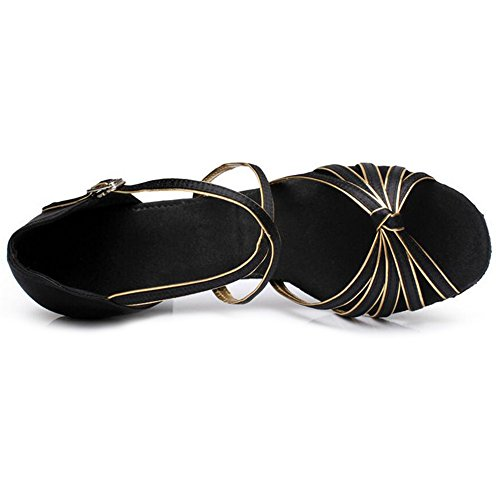 Shoes 39 Women Practice Shoes Gold Dance Tango Heel Latin Salsa for 5cm Ballroom 5 Dance Black Eastlion Sandals q64FtAg4