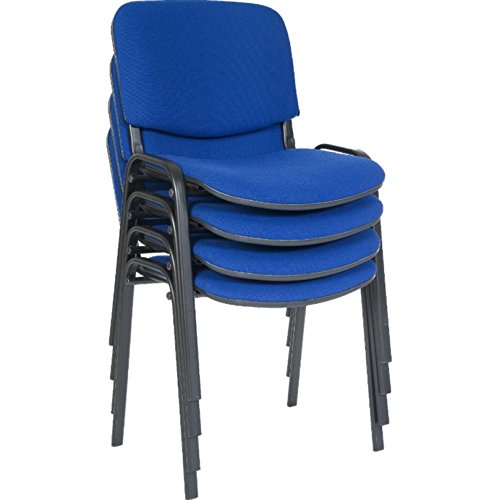 Home & Haus Cushioned Conference Stacking Chair – Utility Seating Upholstered Seat Back Rest Support - Ideal Various Events (Blue)