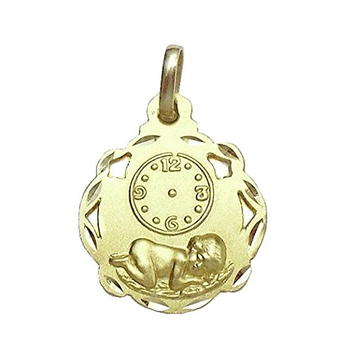 Médaille pendentif 18K enfant temps ajouré Jésus sphère [594]