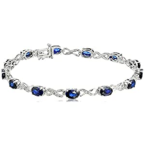 Sterling Silver Created Gemstone and Diamond Infinity Bracelet (1/10 cttw, I-J Color, I2-I3 Clarity)