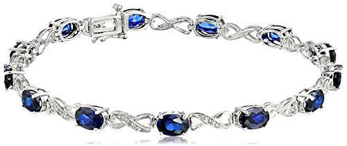 Sterling Silver Created Blue Sapphire and Diamond Infinity Bracelet (1/10 cttw, I-J Color, I2-I3 Clarity), 7.25