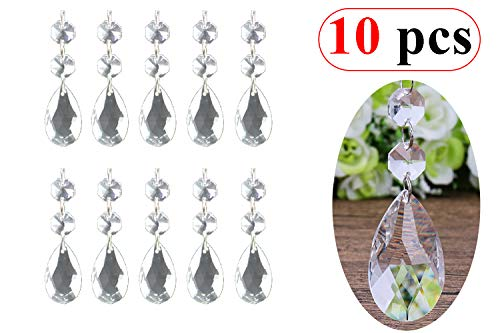 10Pcs Crystal Beads Pendants,Clear Teardrop Chandelier Crystal Pendants Glass Pendants Beads for Wedding Party Tree Garlands Decoration, Gems Bead Strands, Tree Garlands, Christmas Wedding Part