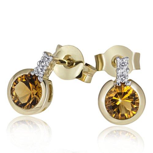 Goldmaid - Fa O2944GG - Boucles d'Oreilles Femme - Or jaune 585/1000 - Diamant 0.02 Cts - Citrine
