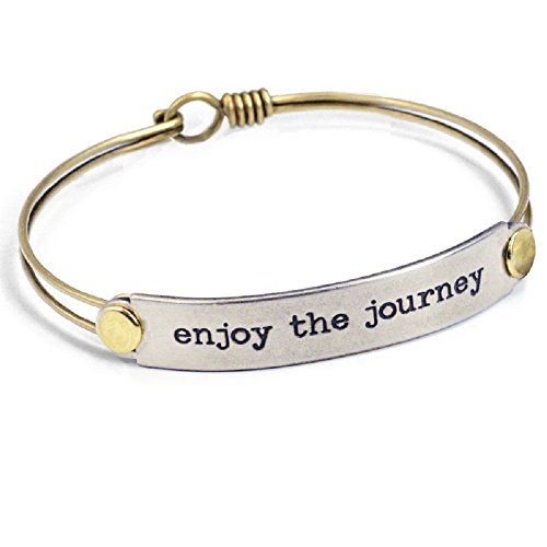 Sweet Romance Enjoy The Journey Inspirational Message Bar Bangle Bracelet - Graduation Gift