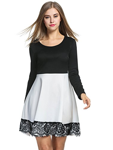 Fit Long Trim Stiching Black Pleated BELLE and Womens Lace Sleeve White Black Dress Lace Flare Floral LILI BwUA8F