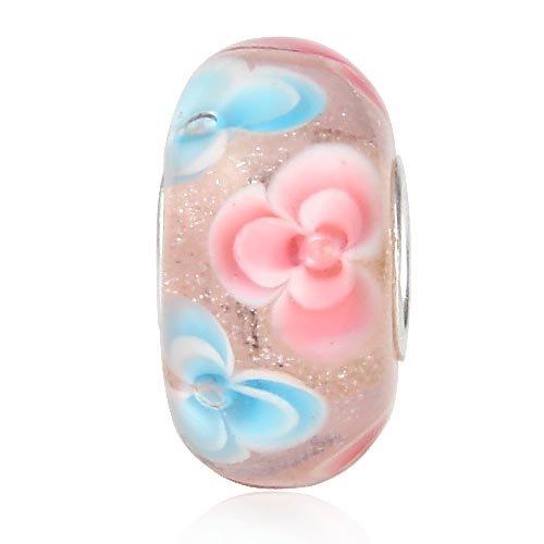 Orchid Murano Glass Bead 925 Sterling Silver Core Flower Charm Fit European Bracelets (B)