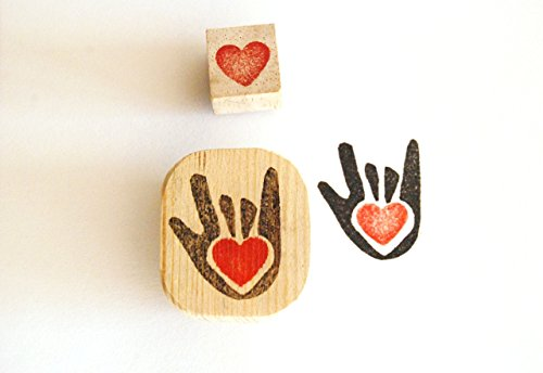 Sign Language Rubber Stamps (Love in Sign Language - Hand carved rubber stamps)