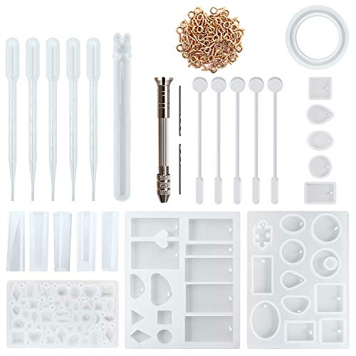 Resin Silicone Jewelry Casting Making Molds, Include Assorted Styles Mould, Hand Twist Drill, Stirrers, Droppers, Screw Eye Pins, 125 Pieces -