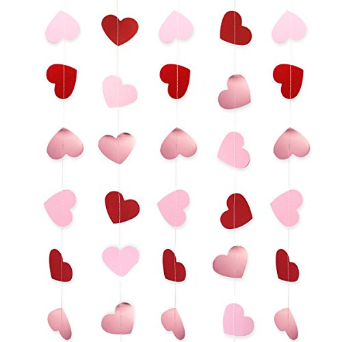 (Heart Garland Banner Father's Day Decorations, Wedding Decor, Valentines Day| Paper Heart Hanging Banner for Birthday Party Baby Shower Bridal Love Anniversary | Valentines Photo Props | Background decor, Wall Decorations, Curtain and Window Display Decorations| - Red, Light Pink, Shiny Rose Gold Valentines decorations)