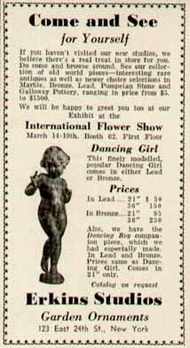 Charming Garden Cherub Statue in 1938 Erkins Studios, NYC Original Paper Ephemera Authentic Vintage Print Magazine Ad/Article