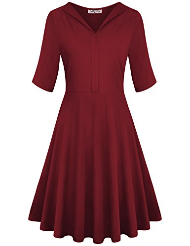 SeSe Code Fit and Flare Dress Women Pastel Occasions Autumn Knitted Basic Loosely Conservative Comfort Pleats Top Business Casual Dresses Wine Red Large
