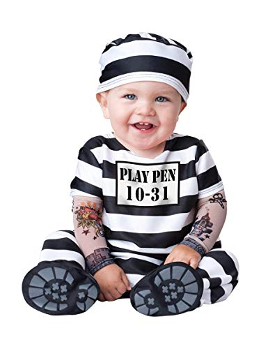 InCharacter Costumes Baby's Time Out Convict Costume, Black/White, Medium(12 -18 Mos)]()