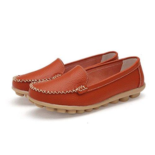 Ama (tm) Kvinnor Läder Lägenheter Halka På Loafers Mjuk Komfort Driver Promenad Skor Apelsin