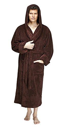 (Arus Men's Hooded Fleece Bathrobe Turkish Soft Plush Robe, Brown, LXL)