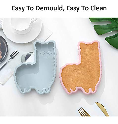 2PCS Llama Silicone Mold Cake Baking Pan for Kids Candy Chocolate Cupcake Cookie Cake DIY Mould Non-Stick Silicone Bakeware Alpaca Fondant Mold for Birthday Easter Cake Decor Kitchen Tool, Pink, Blue