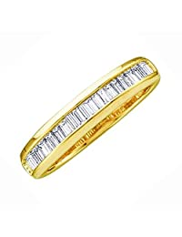 0.15 Carat (ctw) 10K Yellow Gold Baguette White Diamond Ladies Anniversary Wedding Band