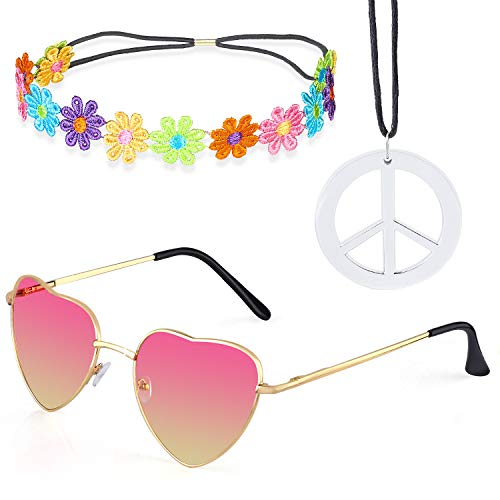 Beelittle Hippie Costume Set - 60's Style Retro Vintage Glasses Peace Sign Necklace Sunflower Crown Hair Band 60s Hippie Dressing Accessory Set (D) -