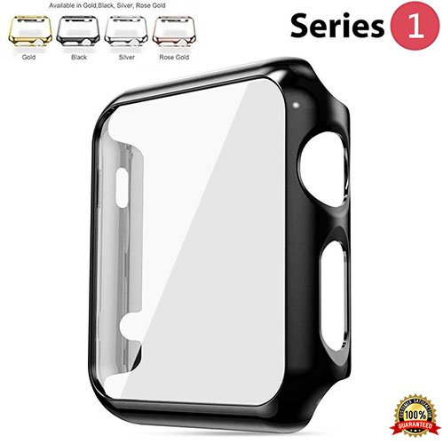 Protective Case for Apple Watch Case 38mm Series 1, Bumper for Apple Watch 38mm Snap on Face Cover Full Coverage Screen Protector of Thin Plated Case PC for iWatch/Sport/Edition 2015 - Black
