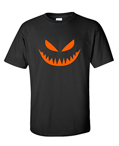 Mean Pumpkin Emoticon Smiley Face Graphic Costume Funny Halloween T-Shirt XL Black (Halloween Costumes Offensive)