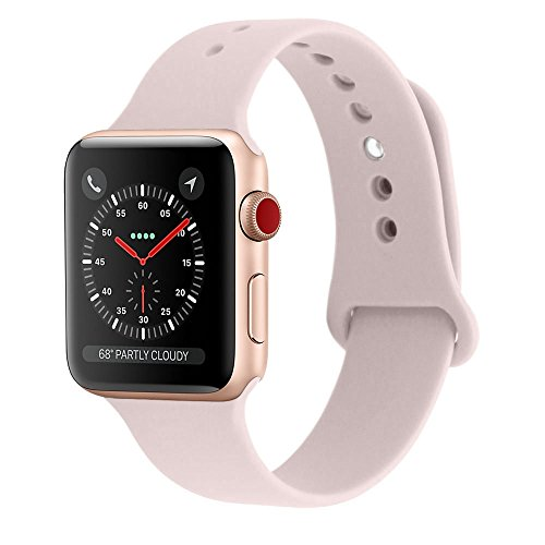 Shielda Silicone Sport Strap Replacement Band for Apple Watch Series 3 / 2 / 1 38MM (TYPE Y - Pink Sand)