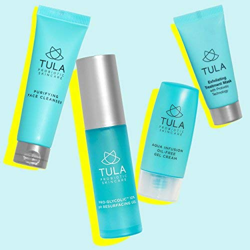 TULA Probiotic Skin Care Clear Complexion Kit | Travel-friendly Set with Facial Cleanser, Aqua Infusion Gel Cream, Glycolic Resurfacing Gel & Exfoliating Mask for Moisturized and Youthful Skin