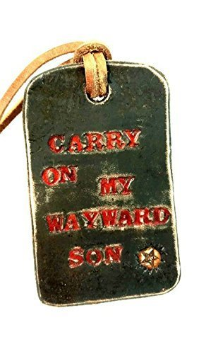"""Handmade Leather Supernatural TV Show Luggage Tag Key Chain. """"Carry on my wayward son."""""""