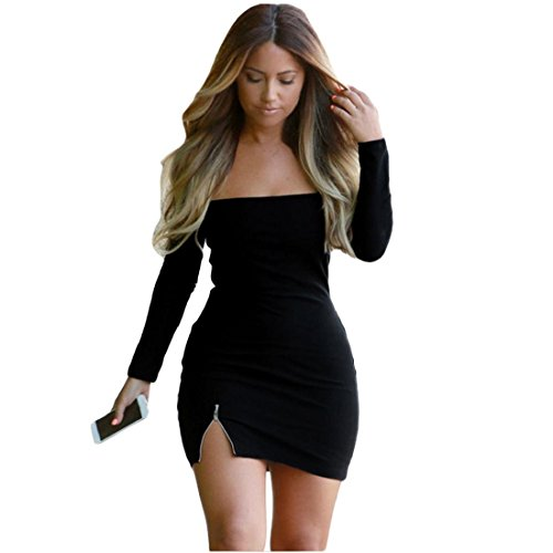 929233f63cd GONKOMA Fashion Women Slim Long Sleeve Party Dress Off Shoulder Mini Dress  on sale