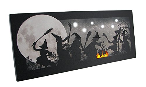 Zeckos The Witches Dance LED Lighted Sparkling Canvas Print