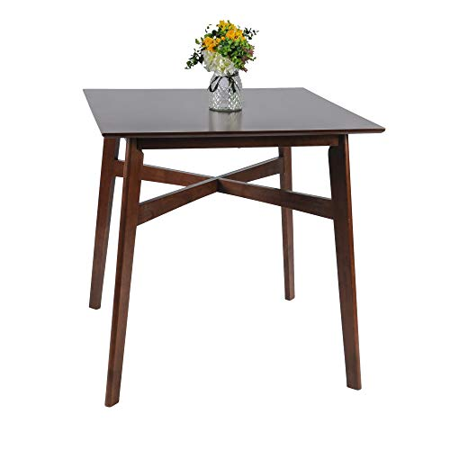 LUCKYERMORE Pub Dining Table Counter Height Bar Breakfast Table Mid Century Modern Kitchen Square Wood ()