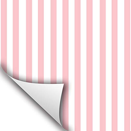 Wallstickery Pink Ivory Stripe Paper prepasted Wallpaper for Wall Stickers self Adhesive Removable Peel Stick Contact on Furniture Kitchen cabinets Shelf Drawer (6.56 ft x 1.47 ft)